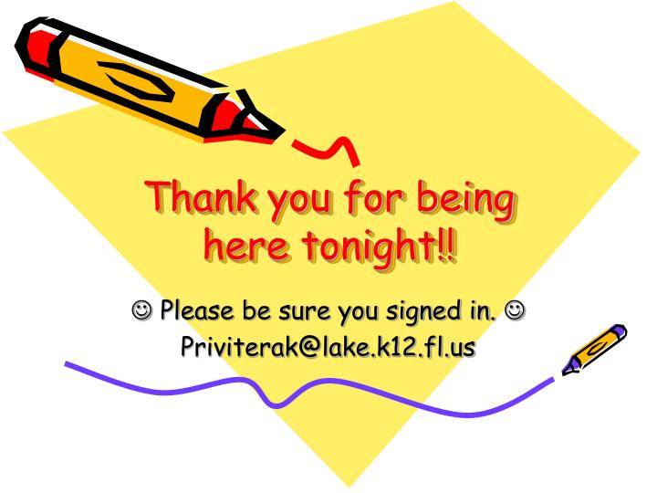 Thank you for being here tonight!!