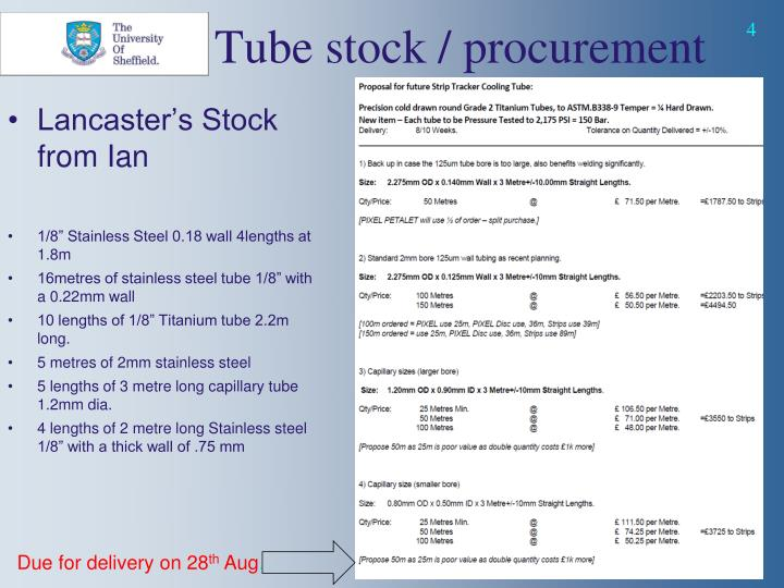 Tube stock / procurement