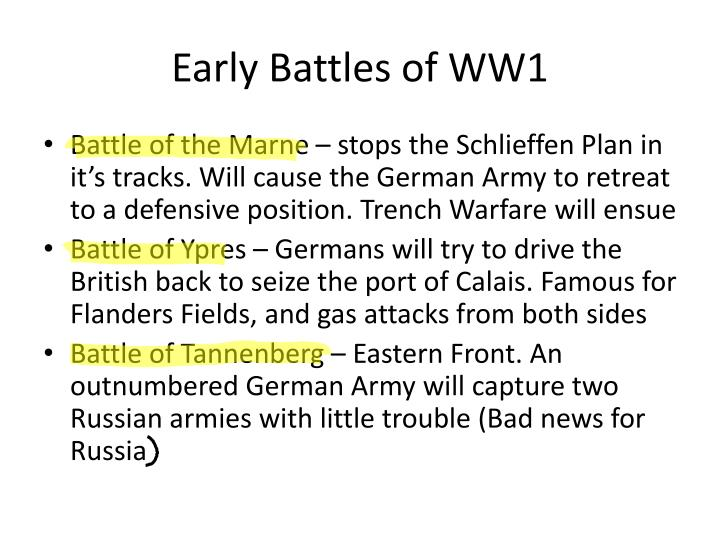 Early Battles of WW1