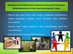 pengaruh interaksi dan proses sosialisasi terhadap perkembangan petani dan masyarakat desa