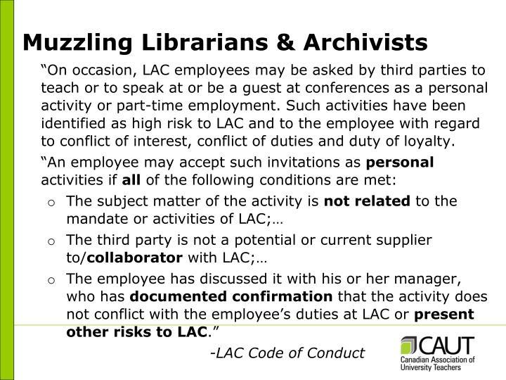Muzzling Librarians & Archivists