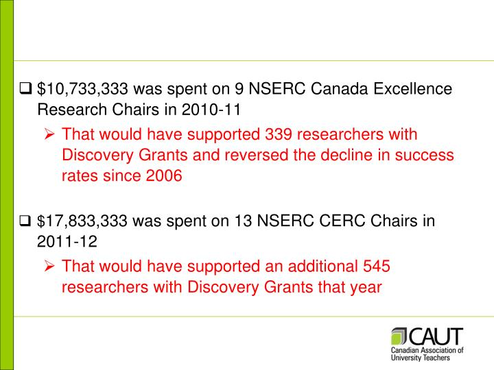 $10,733,333 was spent on 9 NSERC Canada Excellence Research Chairs in 2010-11
