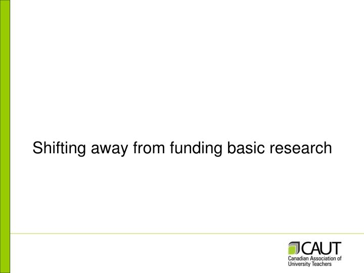 Shifting away from funding basic research