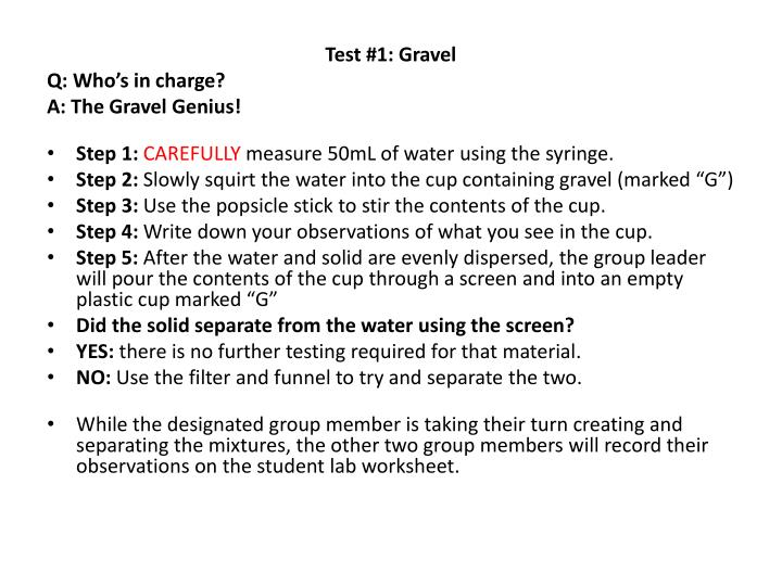 Test #1: Gravel