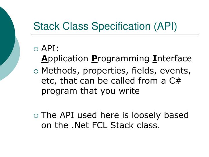 Stack Class Specification (API)