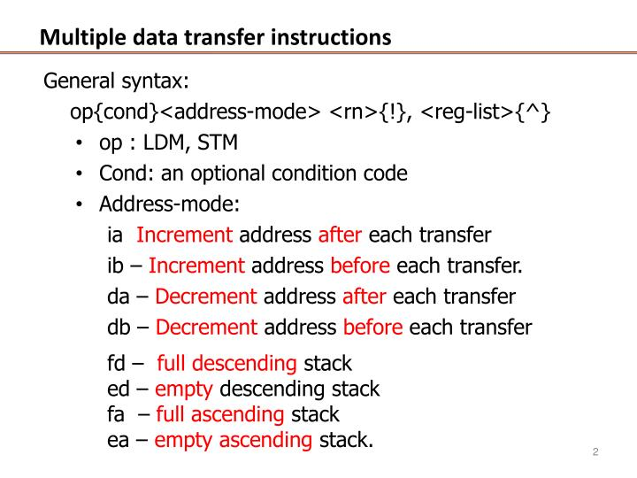 Multiple data transfer instructions1