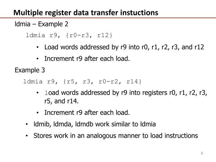 Multiple register data transfer