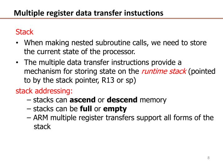 Multiple register data transfer