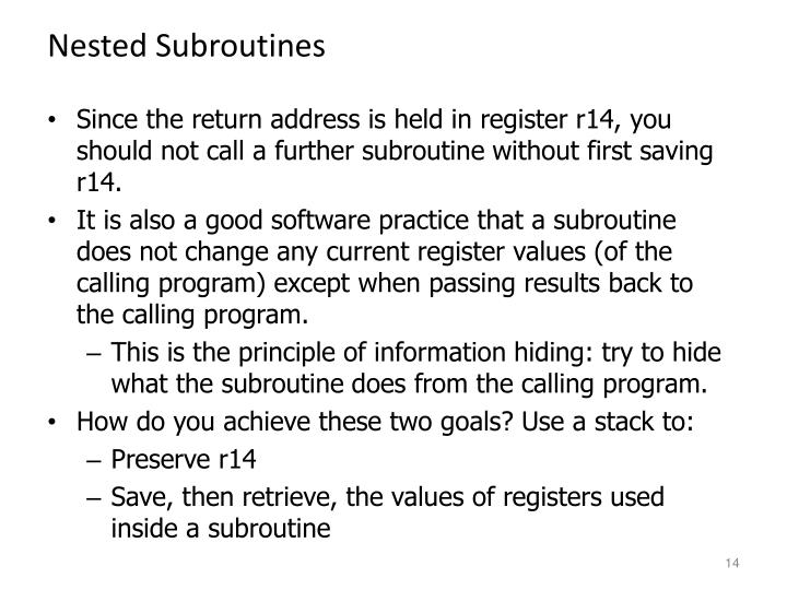 Nested Subroutines