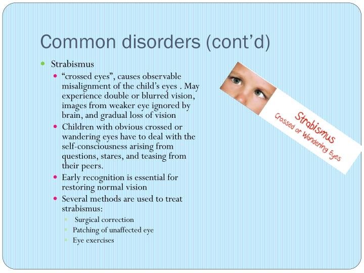 Common disorders (cont'd)