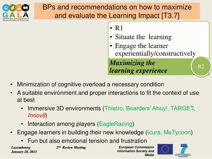 BPs and recommendations on how to maximize and evaluate the Learning Impact [T3.7]