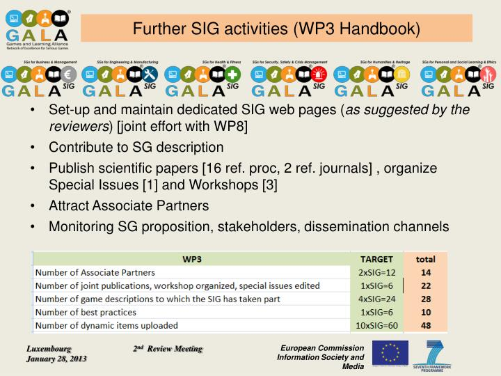 Further SIG activities (WP3 Handbook)