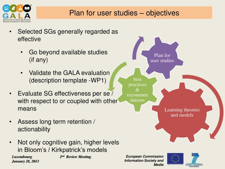 Plan for user studies – objectives