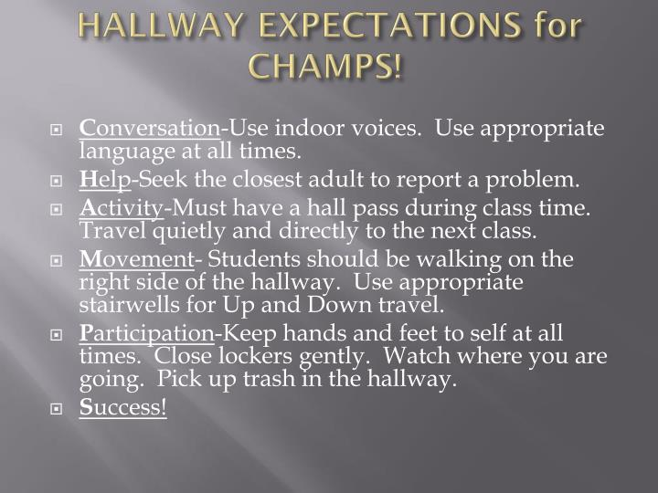 HALLWAY EXPECTATIONS for CHAMPS!