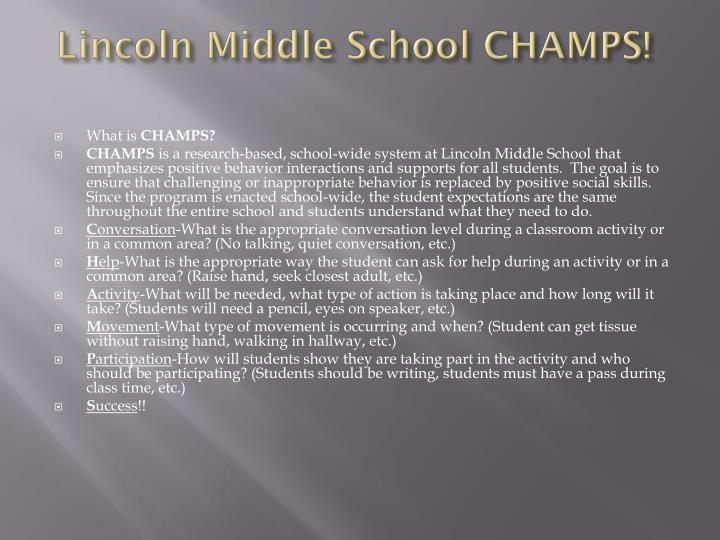 Lincoln middle school champs