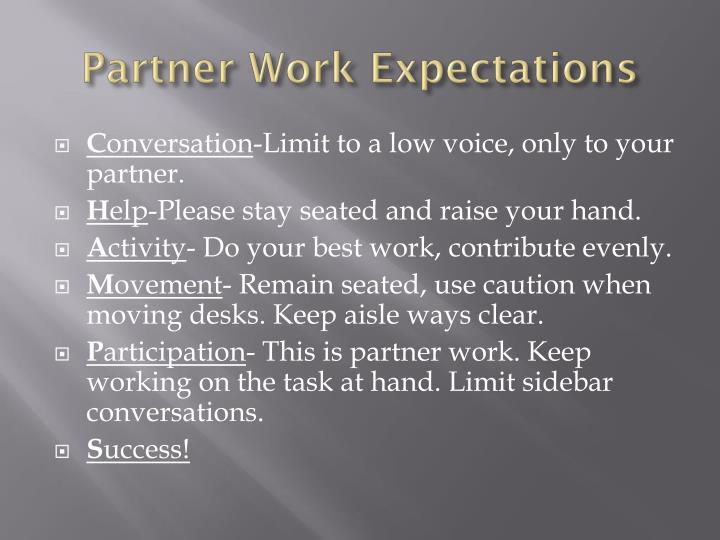 Partner Work Expectations