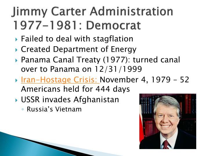 Jimmy Carter Administration 1977-1981: Democrat
