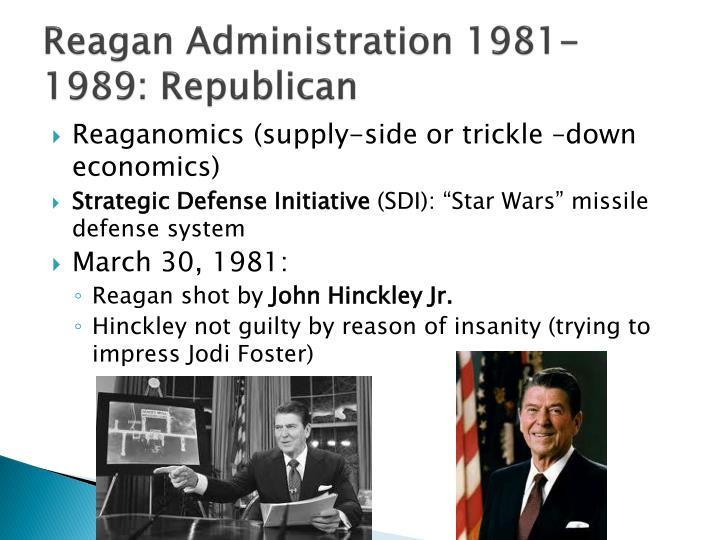Reagan Administration 1981-1989: Republican