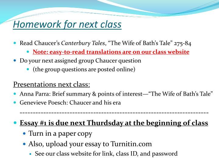 Homework for next class