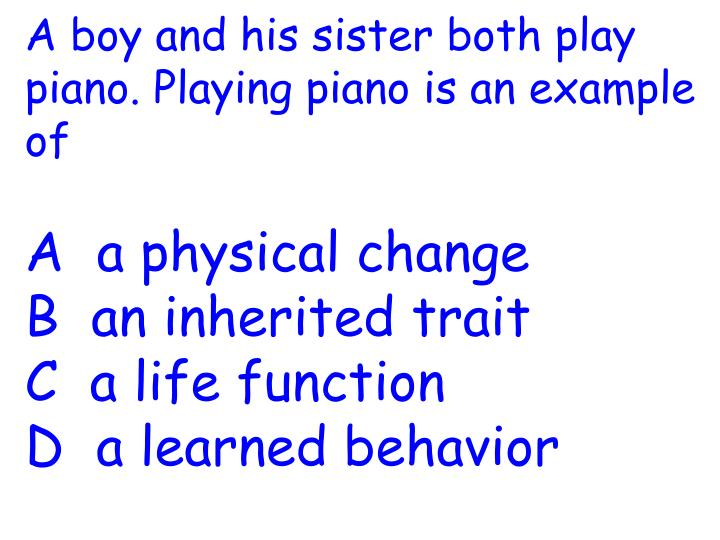 A boy and his sister both play piano. Playing piano is an example of