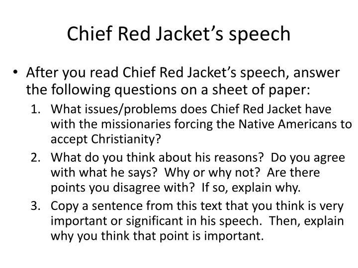 Chief Red Jacket's speech