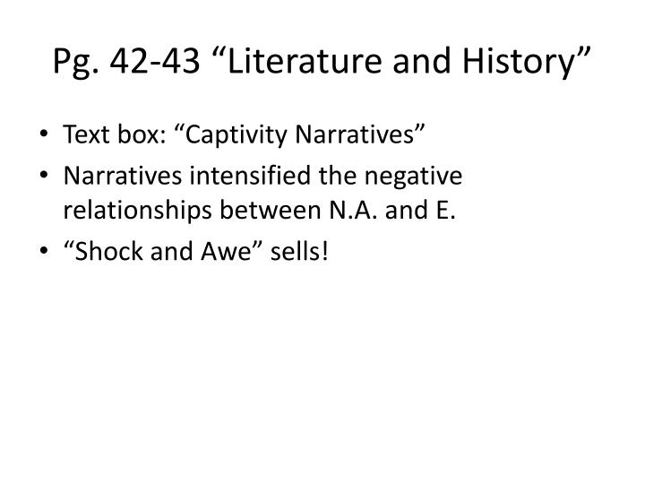 """Pg. 42-43 """"Literature and History"""""""