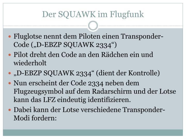 Der SQUAWK im Flugfunk