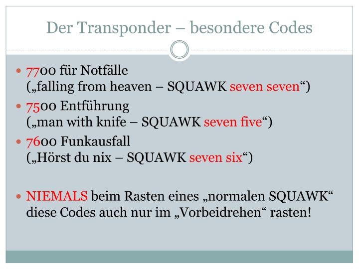 Der Transponder – besondere Codes