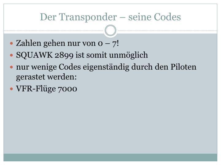 Der Transponder – seine Codes