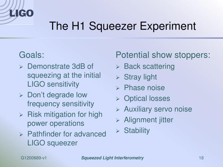 The H1 Squeezer Experiment