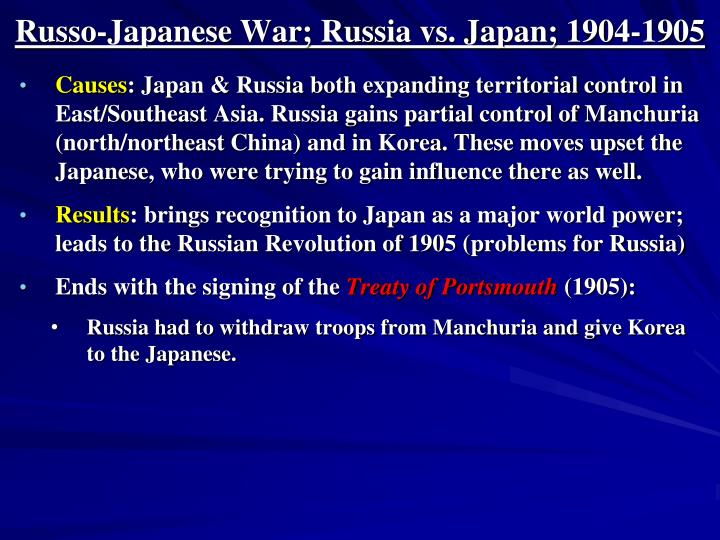Russo-Japanese War; Russia vs. Japan; 1904-1905