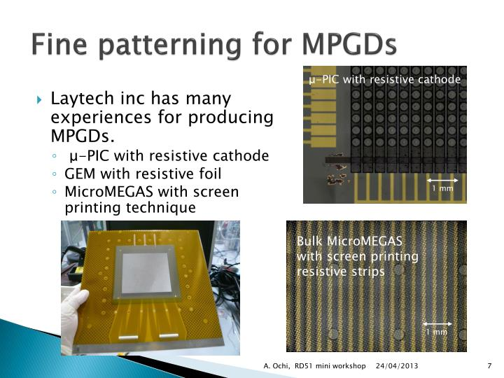 Fine patterning for MPGDs