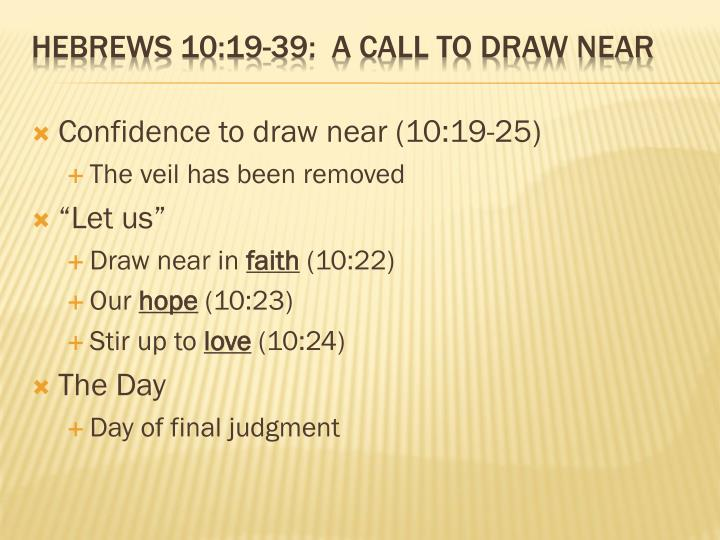 Confidence to draw near (10:19-25)