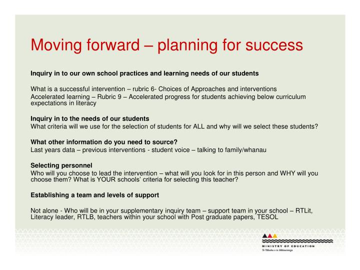 Moving forward – planning for success