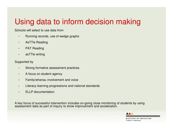 Using data to inform decision making