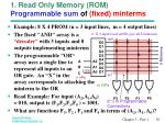 1 read only memory rom programmable sum of fixed minterms
