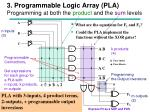 3 programmable logic array pla programming at both the product and the sum levels