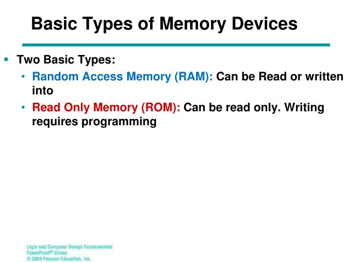 Basic Types of Memory Devices