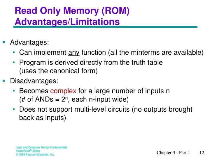 Read Only Memory (ROM) Advantages/Limitations