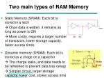two main types of ram memory