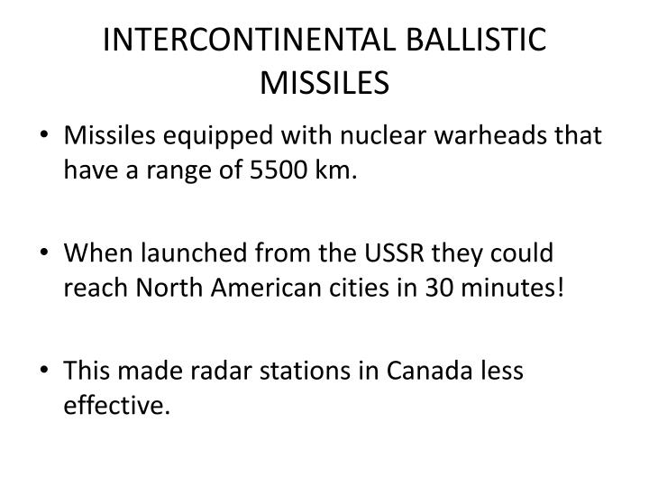 INTERCONTINENTAL BALLISTIC MISSILES