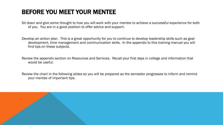 Before you meet your mentee