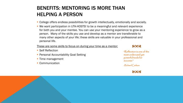 benefits: Mentoring is more than helping a person