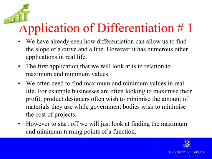 Application of Differentiation # 1
