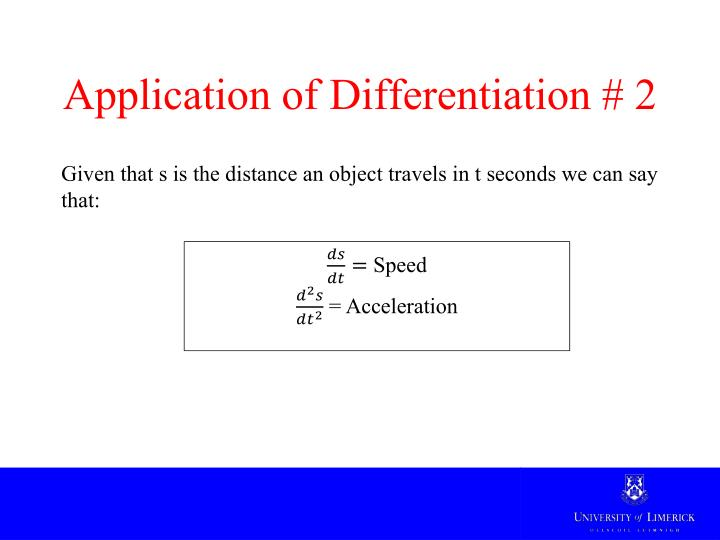 Application of Differentiation # 2