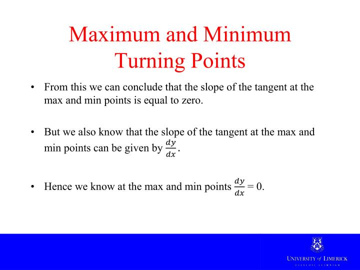 Maximum and Minimum Turning Points
