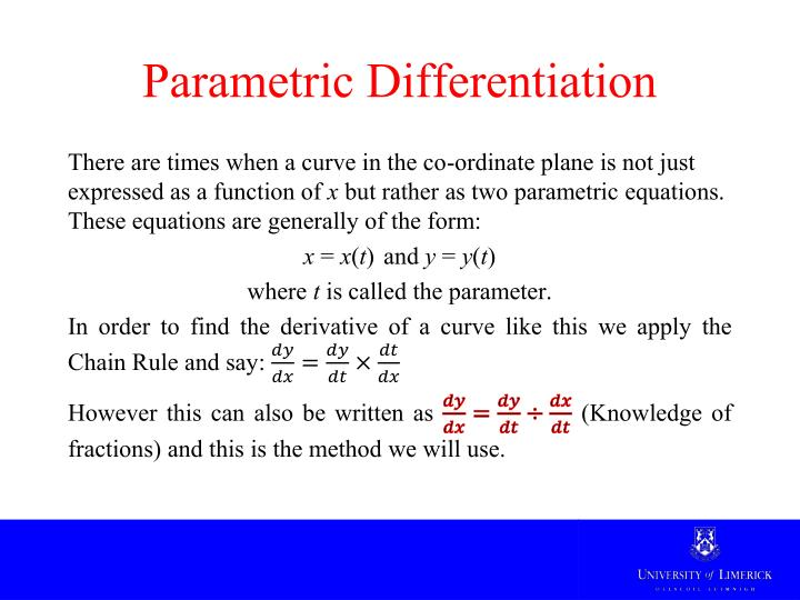 Parametric Differentiation