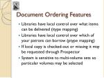 document ordering features