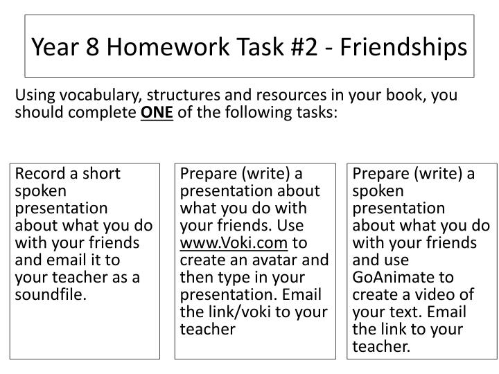 Year 8 homework task 2 friendships