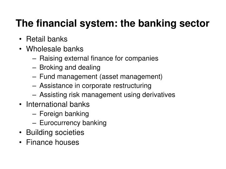 The financial system: the banking sector